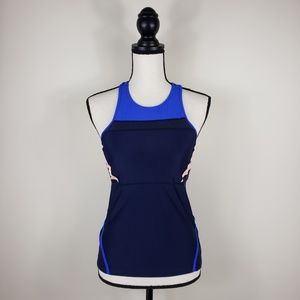 ATHLETA Pink Blue Pocketed Runners Tank Top